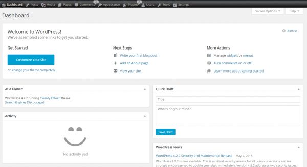 WordPress Dashboard with Ozh Admin Plugin